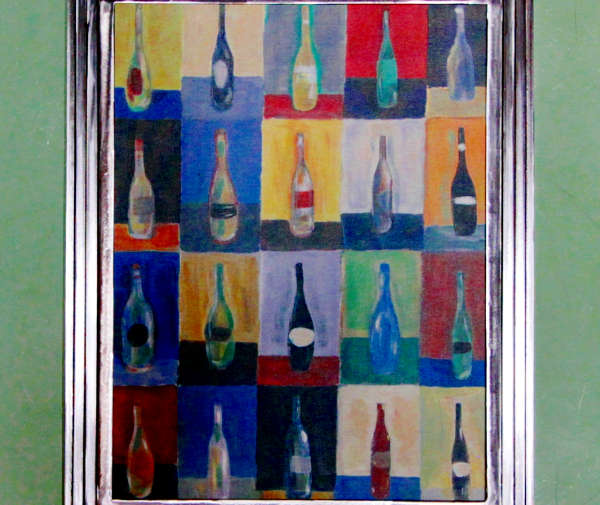 Metal Frame Vino Painting